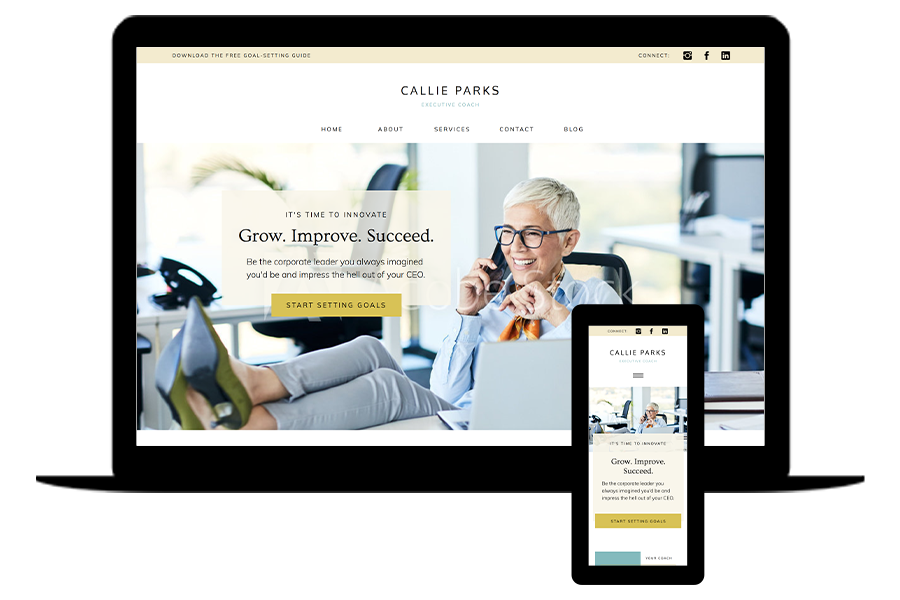 Showit website template for executive coach - Callie by lovely impact