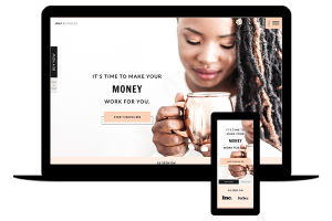 Showit website template for finance coach - Jana by lovely impact
