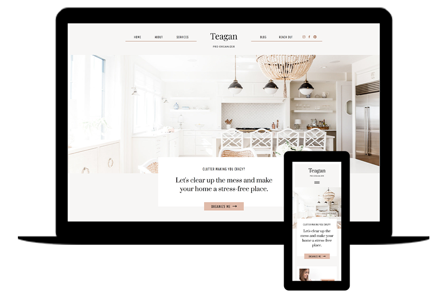 Showit website template for professional organizers- Teagan by lovely impact