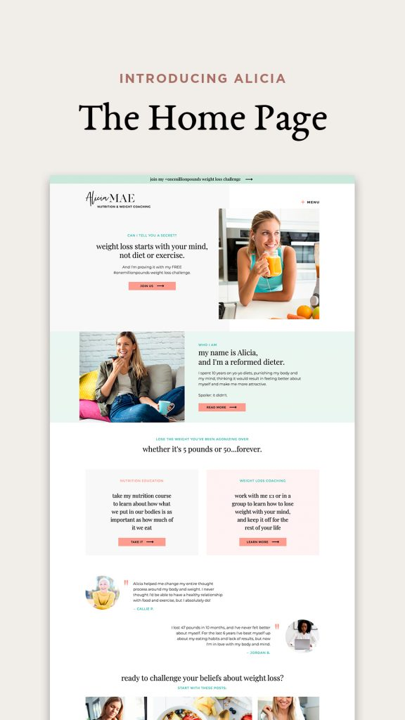 Showit website template for weight loss coaches