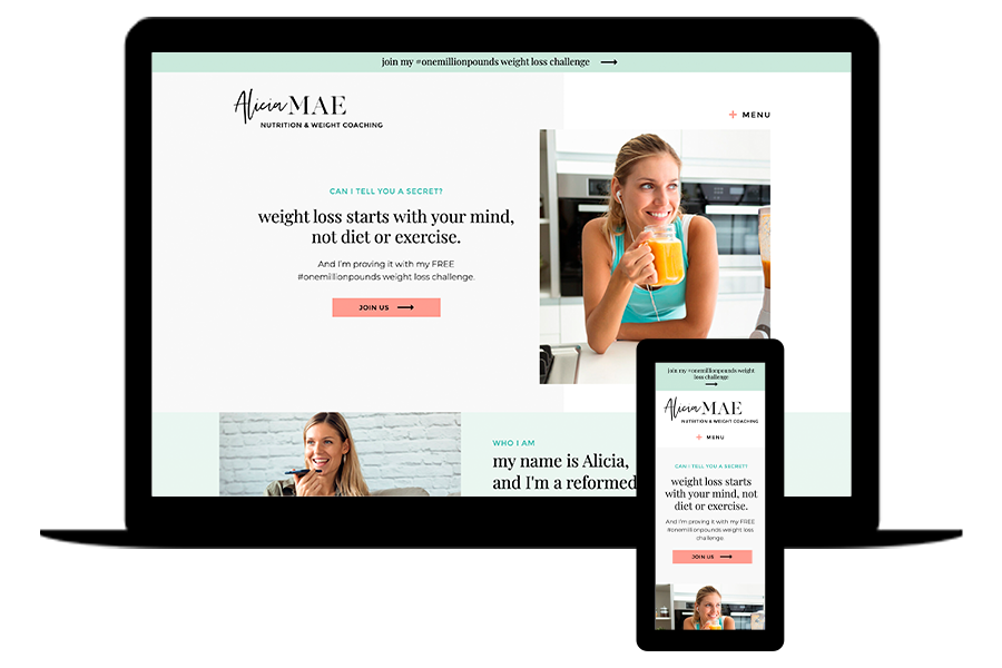 Alicia Showit Website Template for Weight Loss Coaches