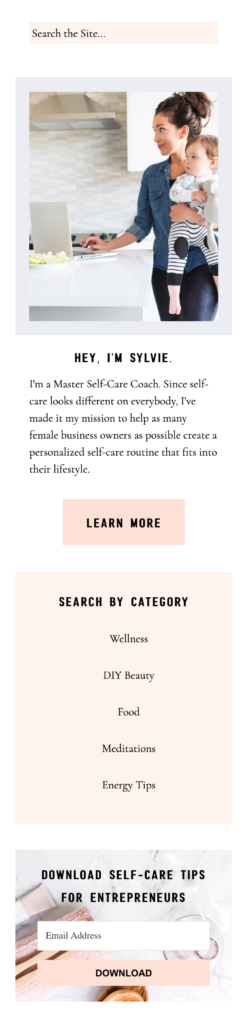 sylvie template blog sidebar example