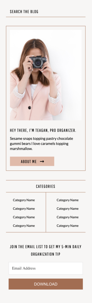 Teagan template blog sidebar