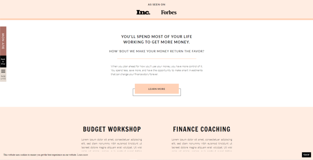 Learn More Button 0 6 Types of CTAs for Coaching Websites and How to Use Them - Examples (