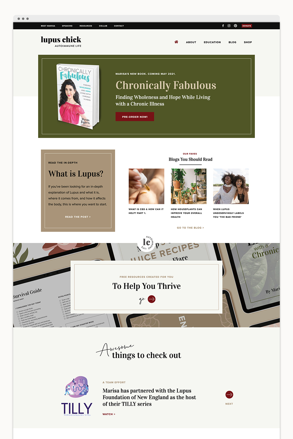 Custom Branding + Showit Website Design for Lupus Chick
