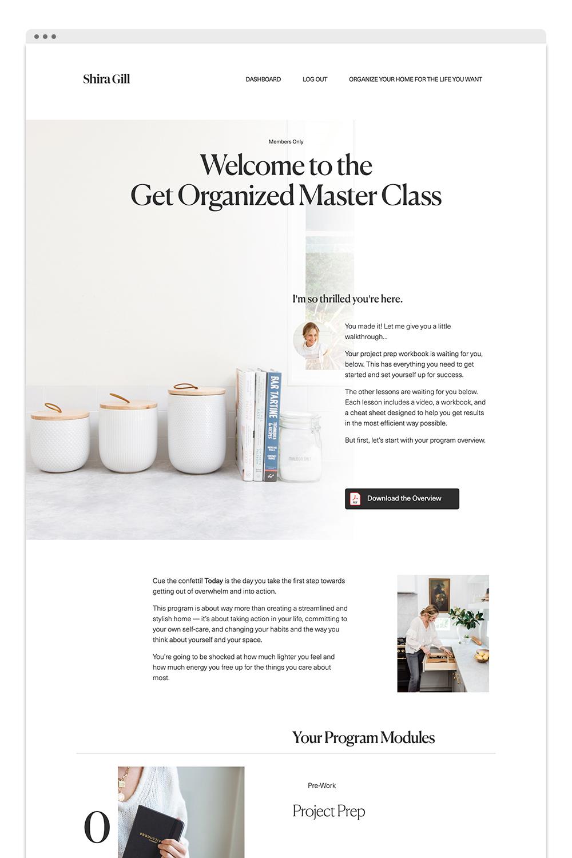 Shira Gill Get Organized MasterClass Page Design