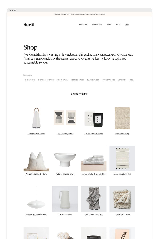 Shira Gill Shop Page