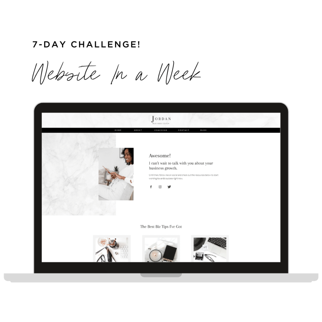 Website in a Week to Launch Your Business Coaching Website Template